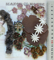 BROWN & IVORY Mix - 30 Paper Roses & Velvet Flowers - 7Styles 15-60mm across VD5
