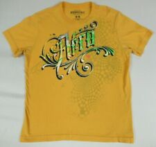 AEROPOSTALE CHECKERBOARD BACKGROUND SWIRLED LETTERS YELLOW MEDIUM T-SHIRT A1806