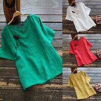 ZANZEA 8-24 Women Summer Short Sleeve Top T Shirt Plus Size Short Sleeve Blouse