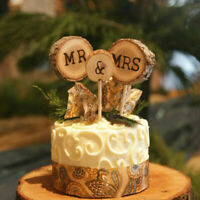 Gifts Rustic Wood Cake Topper Wedding Supplies Mr & Mrs Cake Decorations~