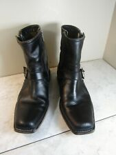 Frye Boot Co Black Leather Stitched Buckle Trim Boots Above Ankle Women's 10 M