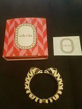 STELLA & DOT Kalahari Zebra Hinged Crystal Gold Tone Bangle Bracelet
