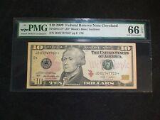 2009 Ten Dollar Fed Reserve STAR Note PMG GEM UNC 66 EPQ CLEVELAND $10 BILL!