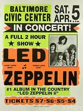 LED Zeppelin cartel concierto de música rock vintage de Baltimore volver a imprimir A4
