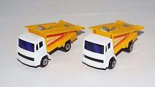Maisto Lot of 2 Loose Ramp Trucks White w/ Yellow Ramp Bed