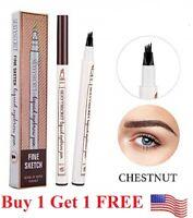 Microblading Eyebrow Pen Waterproof Fork 4 Tips Tattoo Long Last Eyebrow Pencil