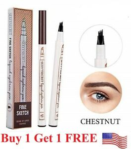 Microblading Eyebrow Pen Waterproof Fork 4 Tips Tattoo Long Last Eyebrow Pencil