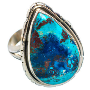 Large Shattuckite Ring Set in 925 Sterling Silver! Top Quality Color Pattern!