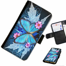 butt26 mariposas Impreso Cartera De Cuero / Funda libro para teléfono móvil