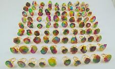 1000 GRAM 18KT GOLD PLATED DRUZY RAINBOW COLORS RINGS ALLOY 100 PCS OVERLAY LOTS