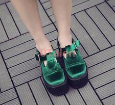 Pumps Lady's Velvet Suede Platorm High Block Heels Gothic Low Top Creeper Shoes
