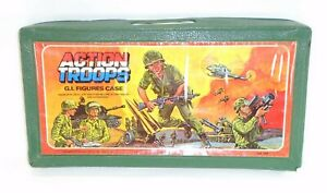 1982 military figure ACTION TROOPS CARRYING CASE #2 holds 24 Miner GI Joe JTC