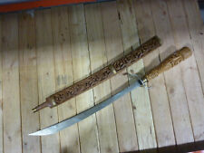 60's Thai Dha, Vintage Sword from Thailand with Hand Carved Wood Scabbard