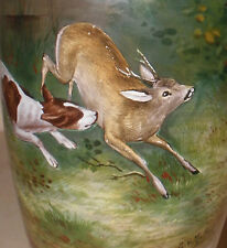 Unique Antique art glass enamel vase hunting painting Guido von Maffei German