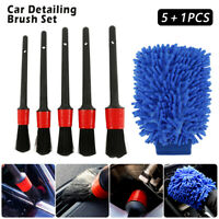 6x Detailing Brush Cleaning Natural Boar Hair Brushes Car Auto Detail Tool Set