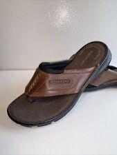 Rockport Brown Leather Slip On Flip Flop Sandals Mens Size 7 W