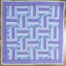 "Baby Girl's Quilt Handmade Purple Patchwork Crib Blanket 42""x42"" New Flower Pals"