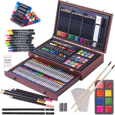 Drawing Painting Art Set Deluxe Artist Kit Supplies Wooden Case Complete 143 Pcs