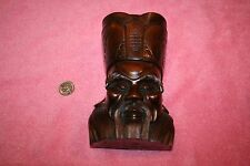 19th Century Rosewood Carving Face of Asian Wise Man Mark on Bottom, Back &