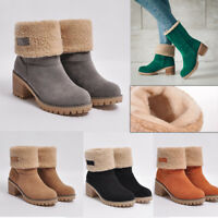 Women Warm Fur Lined Foldable Snow Boots Mid Heels Ankle Boot Suede Winter Shoes
