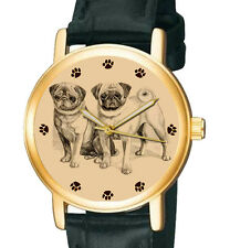 VINTAGE ENGLISH /  CHINESE PUGS COLLECTIBLE PUG DOG ART 30 mm UNISEX WRIST WATCH