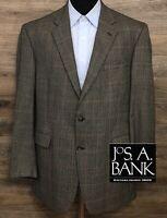 JOS A BANK Men's Silk Wool Brown Black Plaid 2-BTN Blazer Sport Coat Jacket 46L