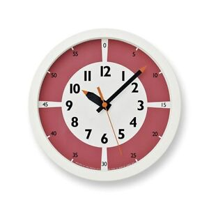 Lemnos fun pun clock with red! YD15-01 RE Wall Clock Japan