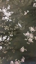 Black Chinese Brocade Fabric, Black Satin Fabric - 1 yard piece