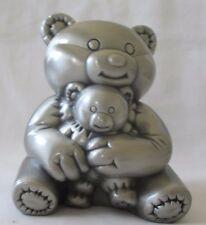 28634 PEWTER TEDDY BEARS MONEY BOX BABY GIFT KEEP SAKE CHRISTENING NAMING GIFT