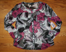 NWT Womens Newport News Sheer Pink Purple Black Floral Tunic Blouse Sz S Small