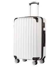 """New Coolife 1 Luggage Suitcase PC+ABS Spinner White Hard Shell TSA Lock 24"""" A303"""