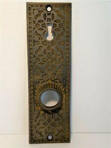 "Antique Cast Iron Exterior Door Plate #284 Detailed Scroll Design 6.5"" x 2"""