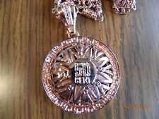MIP- 50cent Spinner rim rose colored gold tone pendant w/ 30 inch Hip Hop Chain