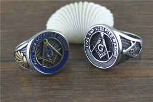 FREE AND ACCEPTED MASONS Signet Ring Solid Stainless Steel Men's Masonic Rings