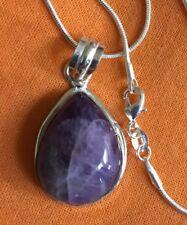 "Natural Lace Amethyst Sterling silver pendant & chain.1"" gem.UK SELLER.Pisces"