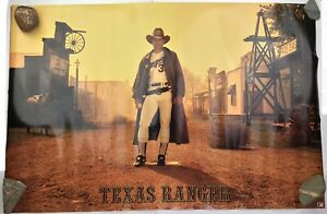 Vintage RARE 1989 Nike Nolan Ryan Texas Rangers Western Gunfighter Poster Undisp