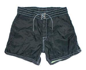 "BIRDWELL BEACH BRITCHES Swim Suit Board Shorts BLACK 4.5"" Nylon Vtg USA Mens 30"