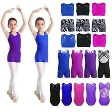 Girls Gymnastics Leotard Dance Skirt Strechy Jumpsuit Kids Yoga Sport Dancewear