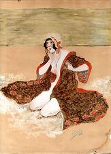 Dessin coquin BAIGNEUSE A LA PLAGE aquarelle gouache daté & signé  A TERRAL 1917