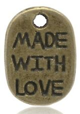 40 Made With Love Bronze Metal Oval Scrapbooking Favour Tag Charm 11mm B14389