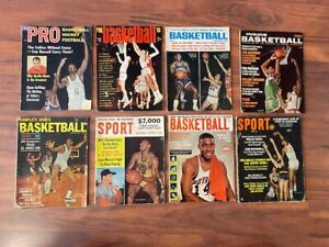 Lot of 8 Vintage BASKETBALL Magazines 1960's  RUSSELL ALCINDOR CHAMBERLAIN BIG O