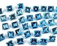 3X3MM TO 8X8MM AAA NATURAL SWISS BLUE TOPAZ SQUARE CUT FACETED LOOSE GEMSTONE
