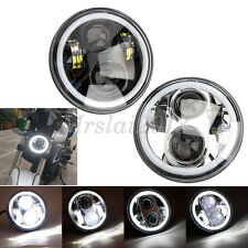 "5.75inch 5 3/4"" Cree LED Headlight Angel eyes Halo Ring DRL for Harley Davidson"