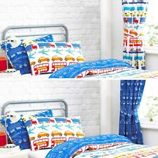 Textile Warehouse Cars Transport Truck Boys Kids Childrens Lined Curtains Pair