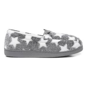 The Slipper Company Grey Star Moccasin Slippers Size UK 3,4,5,6,7,8