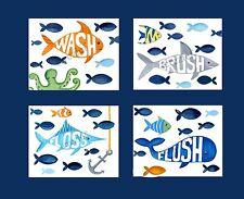 fish bathroom wall art decor bath rule brush wash floss flush children art print