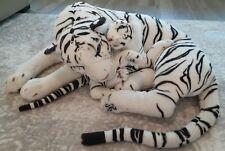 "WHITE TIGER JUMBO BIG GIANT STUFFED PLUSH WITH BABY CUB 35"" Stuffed Animal"