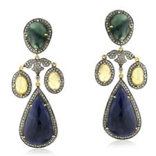925 Silver Diamond Multi Sapphire Emerald Chandelier Earrings 18K Gold