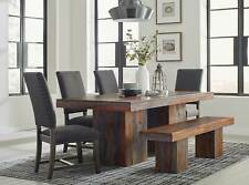 Rustic Brown 6 piece Dining Room Set Rectangular Table Bench & Gray Chairs IC7L