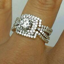 14k yellow gold Woman 3 piece man made diamond Engagement Wedding Ring Band S 8